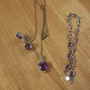 Jewelry - Adorable Sterling Silver Amythest jewel set
